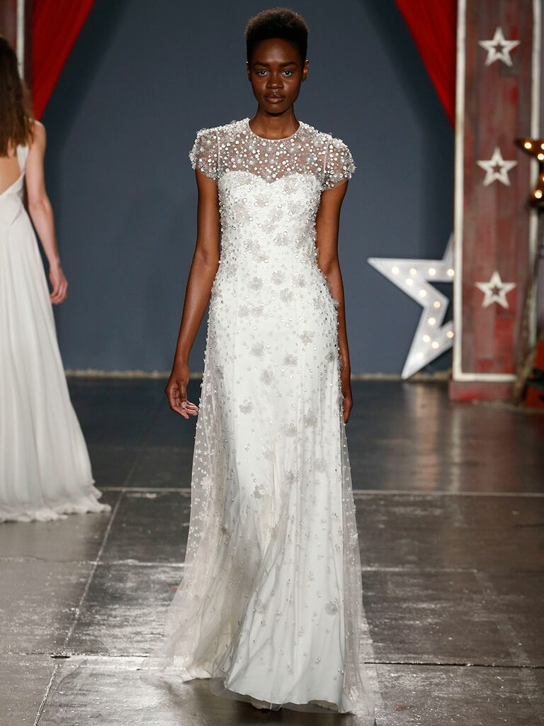 9058852890cb Jenny Packham Spring 2018 embellished wedding dress with cap sleeves