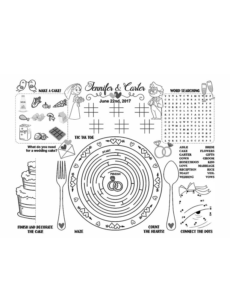Kids Printable Activity For A Cute Wedding Reception Idea
