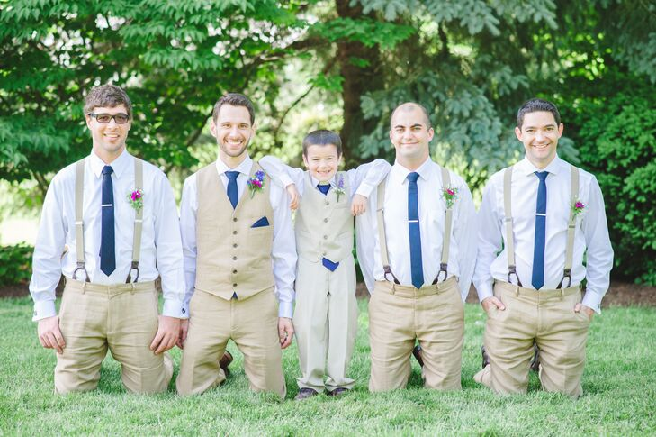 Casual Groomsmen With Suspenders And Blue Ties