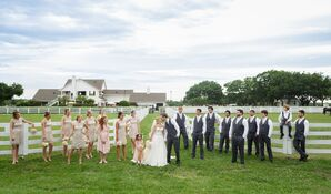 Champagne, Blush and Gray Ranch Wedding Party