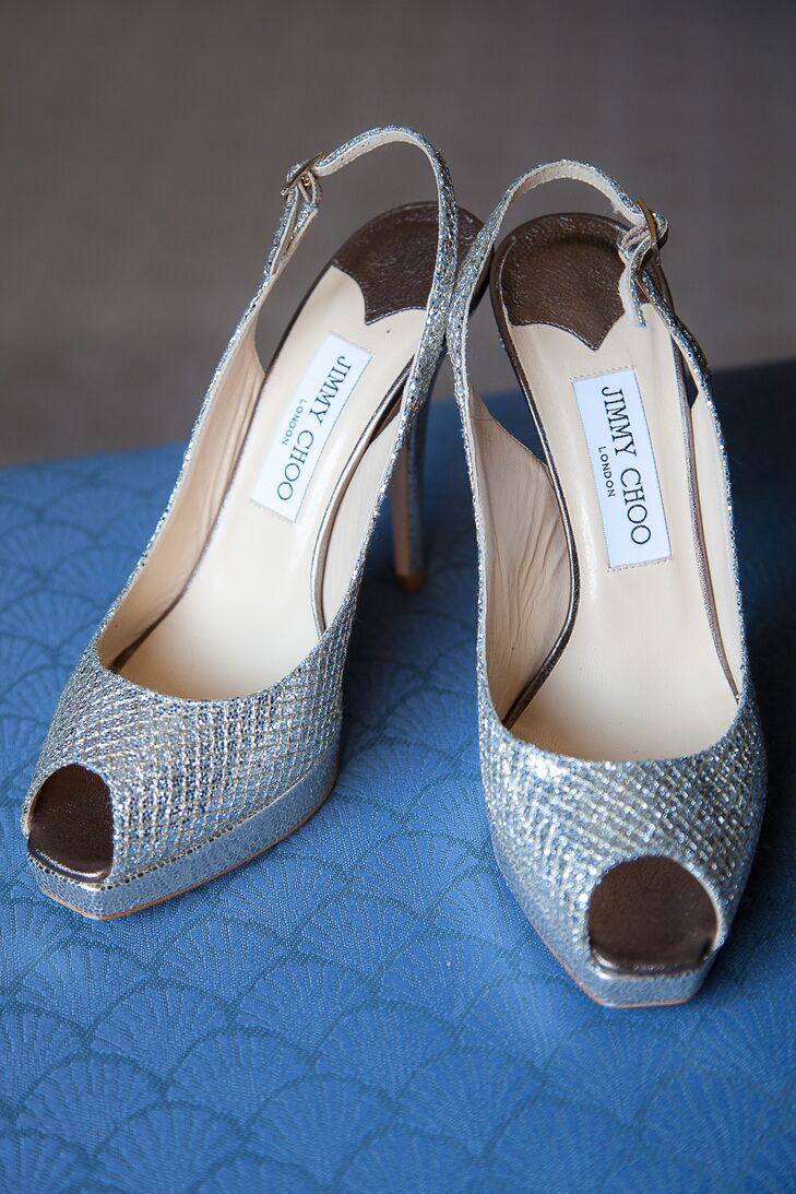 Jimmy Choo Peep Toe Heels in Silver