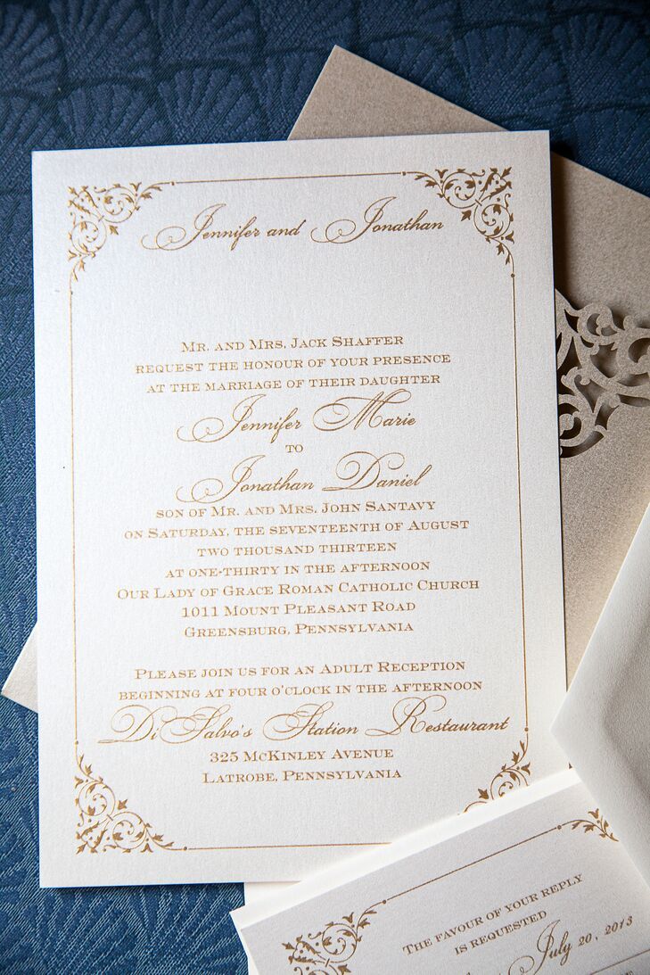 The classic gold invitations were provided by RSVP Greensburg, a local invitation designer near Pittsburgh, Pennsylvania.