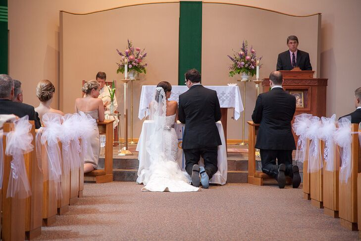 The traditional, Catholic ceremony was held at Our Lady of Grace Church in Greensburg, Pennsylvania. The aisles of the church were decorated with sheer white bows. Jennifer wore a manilla veil to the ceremony.