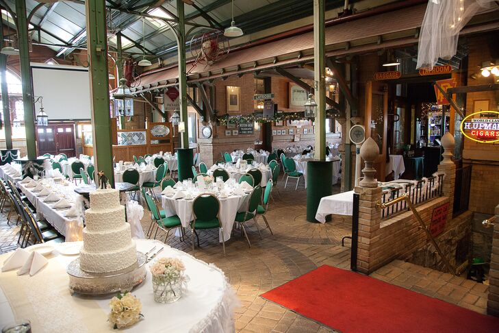 The reception was held at Di Salvo's Station Restaurant, an Italian restaurant in a renovated historical train station.