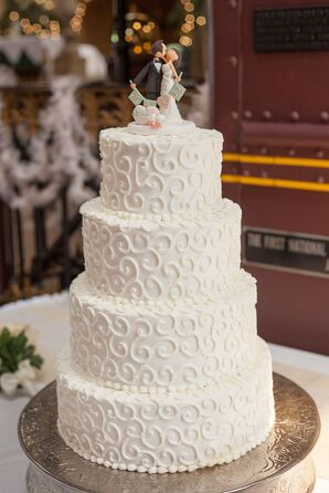 Four Tier Wedding Cake with Scroll Piping
