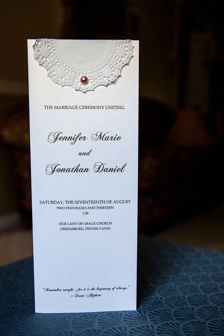 Ceremony Programs with Lace Details