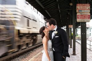 Bride and Groom at Train Station Wedding