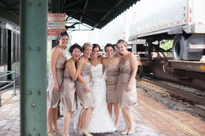 Bridesmaids in Champagne Satin Dresses