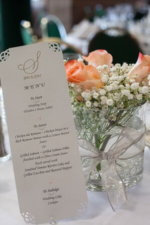 Menu and Centerpieces with Roses and Baby's Breath