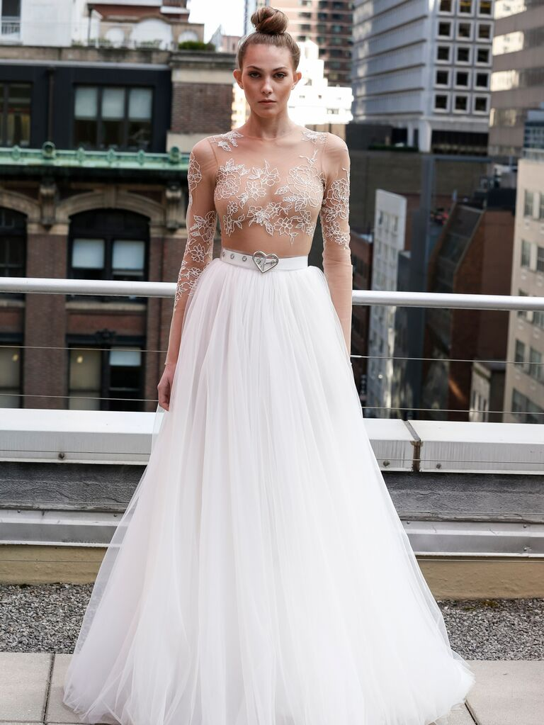 Eisen-Stein Spring 2020 Bridal Collection wedding dress with sheer bodice and heart belt