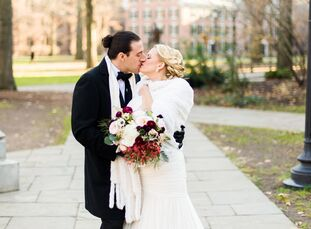 Susan West (30 and a program coordinator of major gifts at Yale University) and Solomon Silber's (32 and a musician and producer) winter wedding in Ne