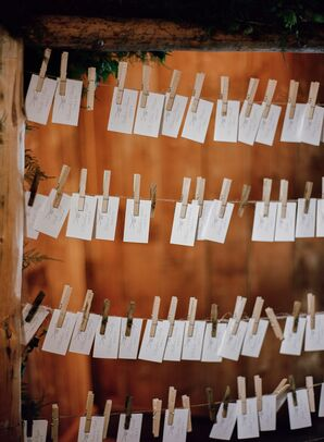 Rustic Clothespin Line Escort Card Display