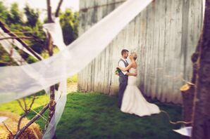 Bride and Groom at Barn Ceremony at Monclova Community Center