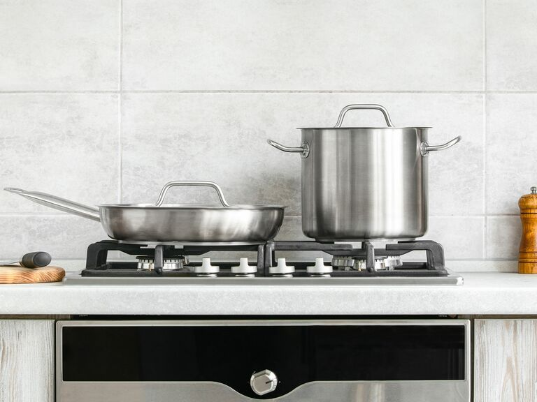 stainless steel pot and pan on stove