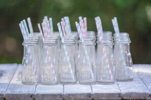 Glass Jugs with Striped Straws