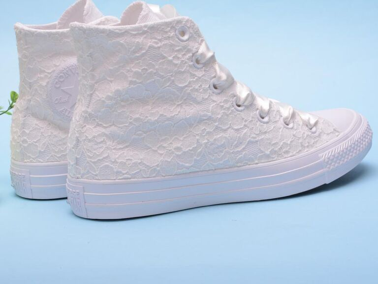 White lace high-top wedding sneakers