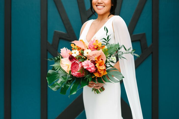 Tropical-Inspired Wedding Bouquet with Leaves and Orange Flowers