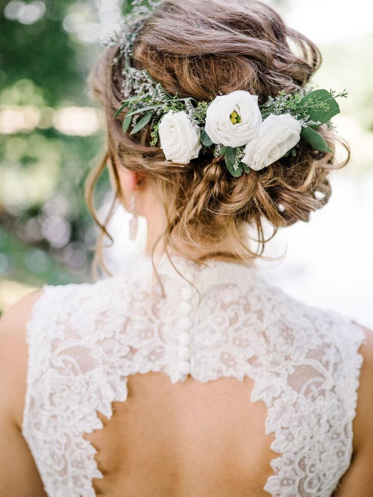 Updo with Lisianthus, Lavender and Eucalyptus