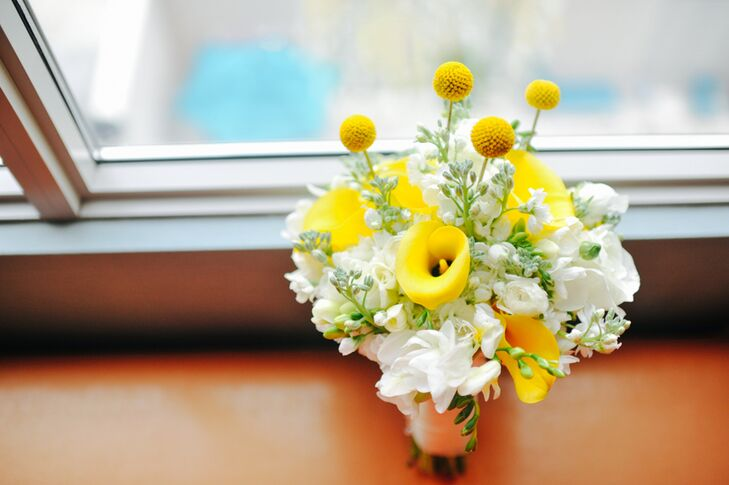 Yellow Calla Lily and Billy Ball Bouquet