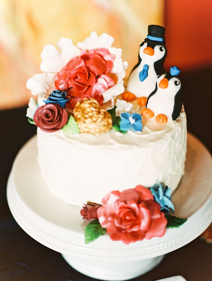 The cake, by Sweet Creation in Telluride, was topped with a pair of penguins, honoring the newlyweds' nicknames for each other.