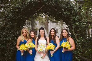 Navy Cobalt Blue Bridesmaid Dresses with Yellow Bouquets