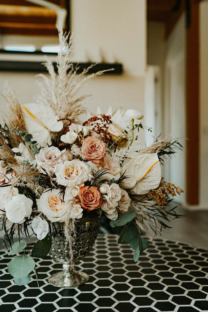 Boho Floral Arrangement with Anthurium and Roses