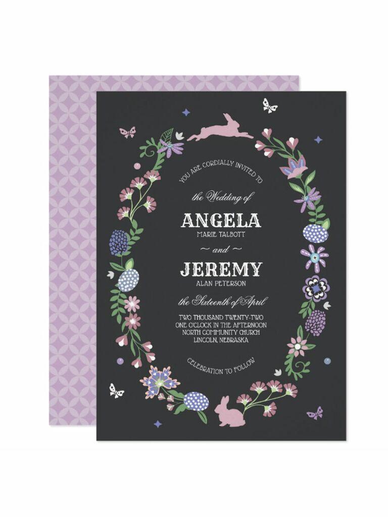 Zazzle Easter bunny spring wedding invitation