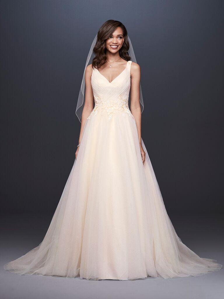 David's Bridal Spring 2019 A-line wedding dress with a lace V-neckline bodice