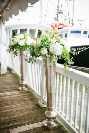 White and Green Ceremony Arrangements