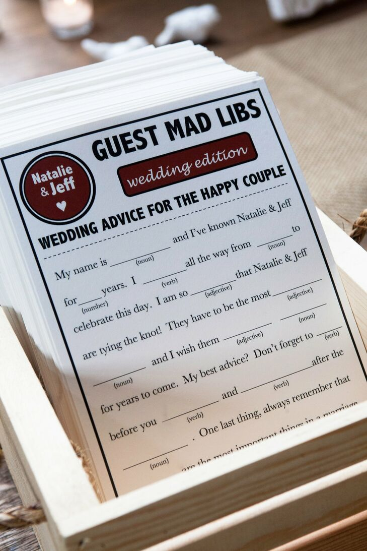 A basket of Mad Libs advice cards added a humorous, unique touch for guests to share their knowledge with the couple.