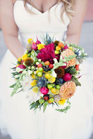 Vibrant Dahlia, Craspedia and Radish Bouquet