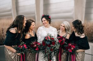 Glam Gold Sequined Bridesmaid Dresses