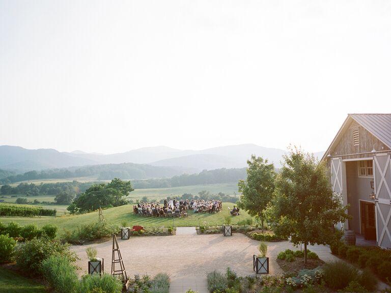 Pippin Hill Farm & Vineyards outdoor weddingceremony  in North Garden, Virginia