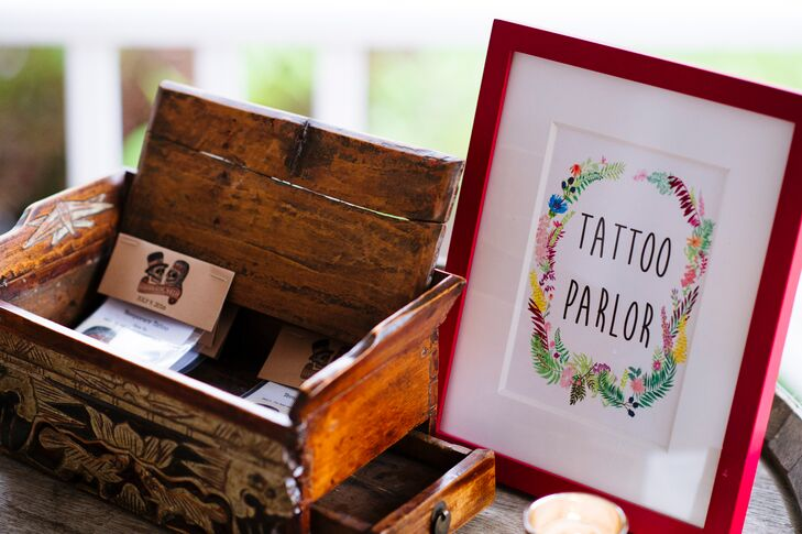 Jess and Todd did things differently when it came to their wedding favors, surprising guests with a temporary-tattoo parlor complete with love-themed tattoos from Tattly and custom-designed tattoos of their dogs, Echo and Claudine, from Etsy designer Buttonhead.