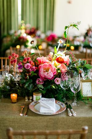 Romantic Centerpiece with Peonies, Ranunculus and Garden Roses
