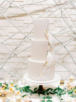 Elegant Tiered Cake with White Fondant and Wafer Paper