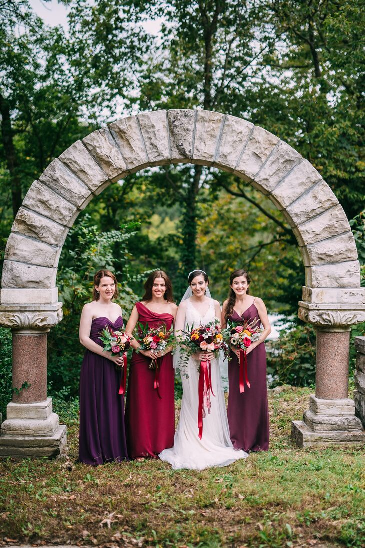 Bride and Bridesmaids in Purple Dresses