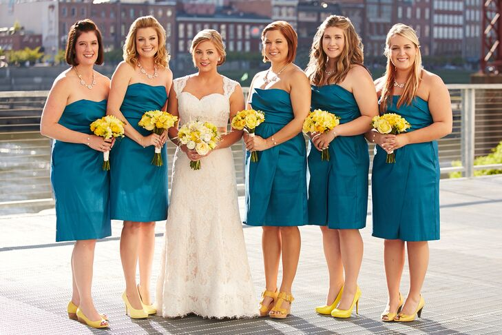 Bright Yellow and Teal Bridal Party Attire
