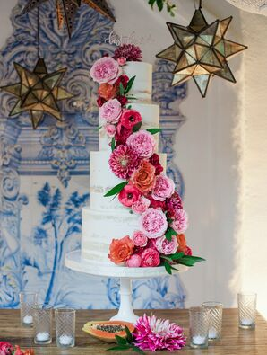 White, Tiered Naked Cake with Bright Coral and Orange Cake Flowers