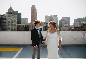 Urban Couple with Detroit Skyline Backdrop