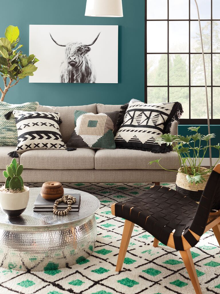 living room with global influence from wayfair