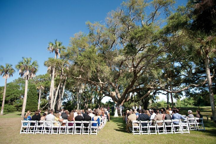 The couple wed under a giant oak tree, so they needed little décor.