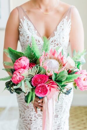 Pink Peony, Cabbage Rose and Protea Bouquet