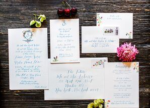 Simple Invitations with Blue Calligraphy and Monogram