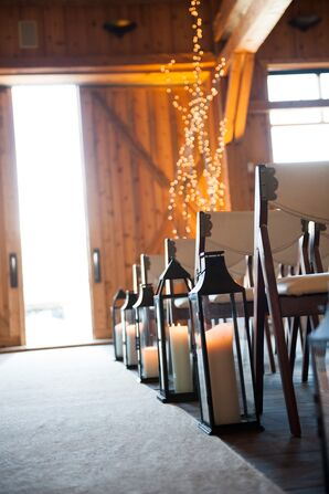Rustic Black Lantern and Pillar Candle Aisle Decor