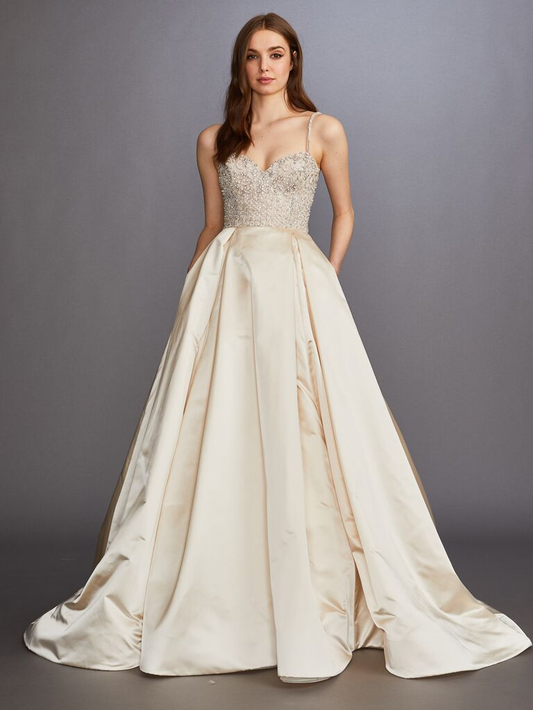 Lazaro Fall 2019 Bridal Collection structured A-line wedding dress with beaded bodice