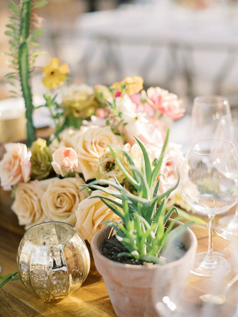spring wedding centerpieces succulents and flowers