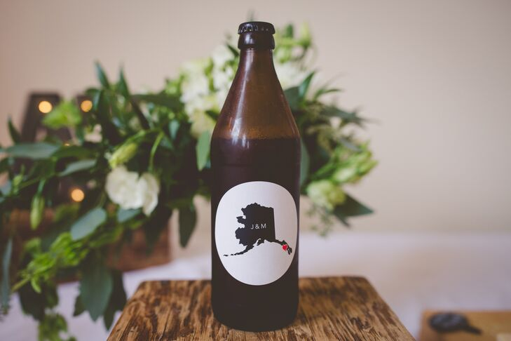 For the wedding day, Megan designed a logo that included an illustration of the state of Alaska plus her and Joe's initials. This logo appeared on save-the-dates and beer served at the reception at Sitka Fine Arts Camp in Sitka, Alaska.
