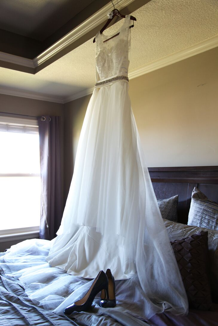 """Melissa ordered her wedding dress online. She found a picture she liked, based on a designer dress, and sent in her measurements. """"I was so scared to try it on that I drove to the home of one of my bridesmaids to try it on,"""" she says. """"I was so pleased with the way it turned out."""""""