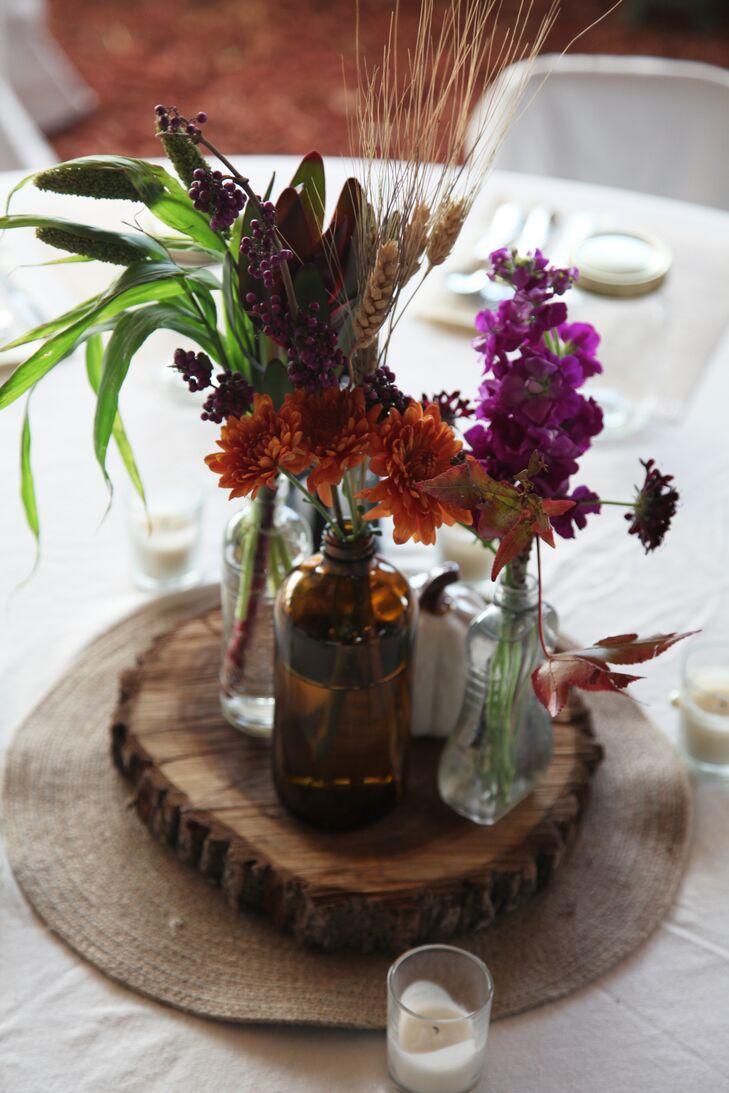 Rustic Purple, Orange Centerpieces